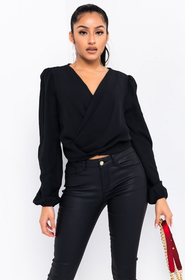 Front View Over Your Head Deep V Blouse in Black