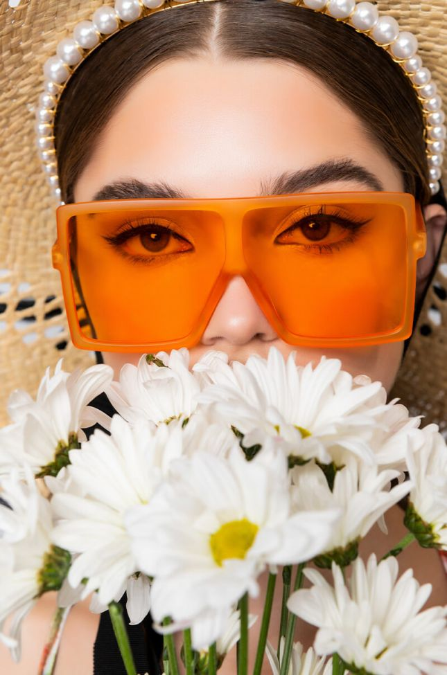 Front View Ovo Orange Oversized Eyewear in Orange