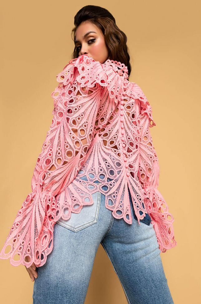 Back View Own It Eyelet Long Sleeve Blouse in Pink