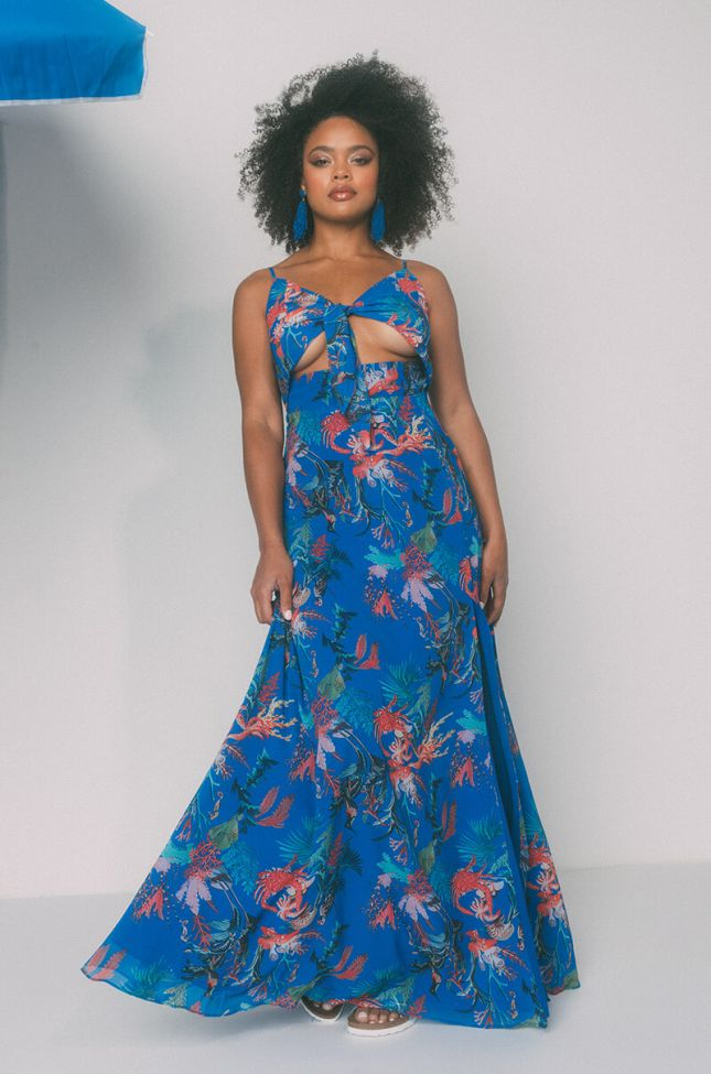 Front View Paradise Falls Tie Front Maxi Dress in Blue