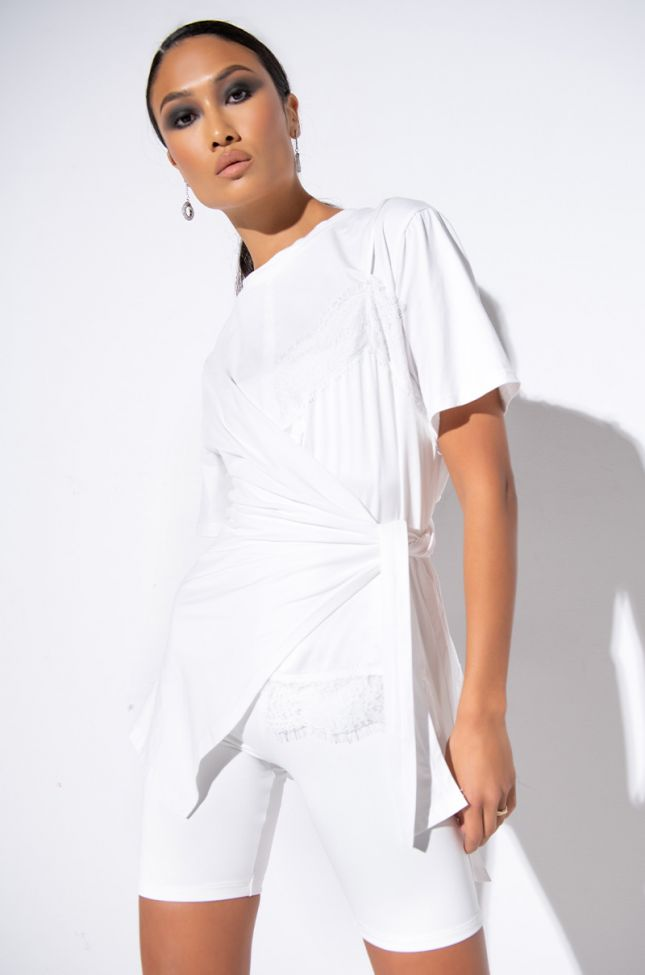 Front View Paradise Side Tie T Shirt in White Multi