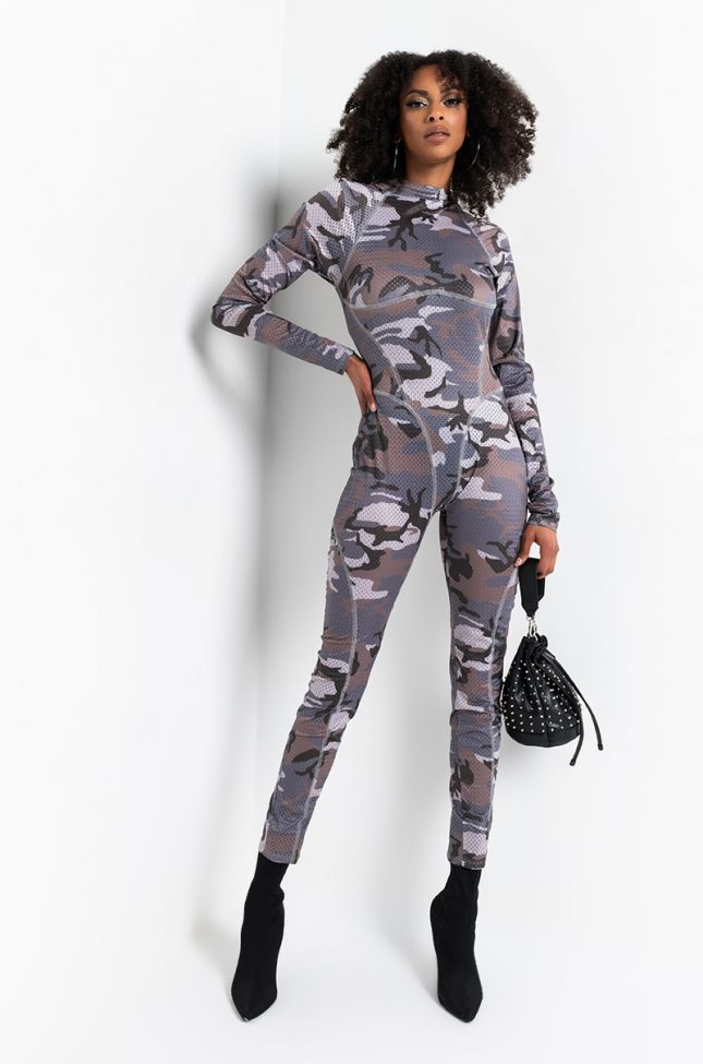 Back View Party Never Ends Mesh Camo Jumpsuit in Grey