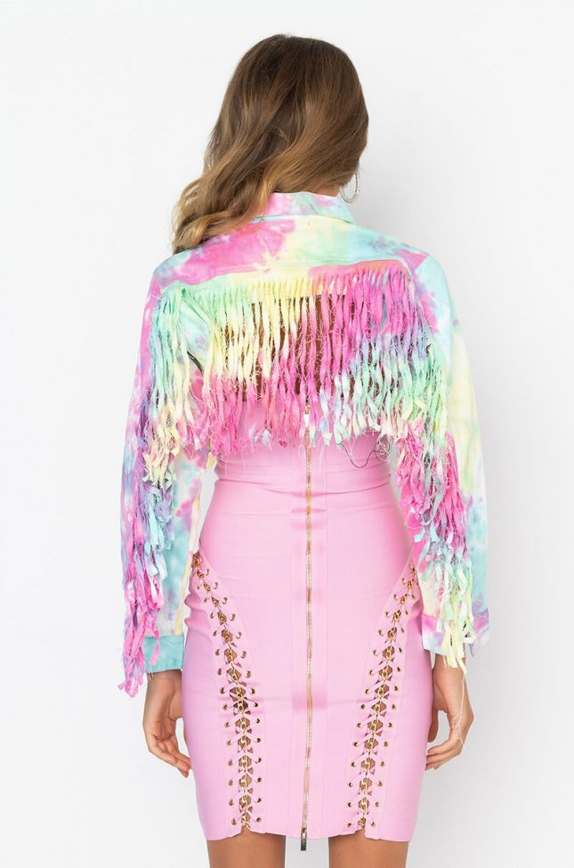 Back View Party Over Here Ultra Cropped Tie Dye Jacket in White Multi