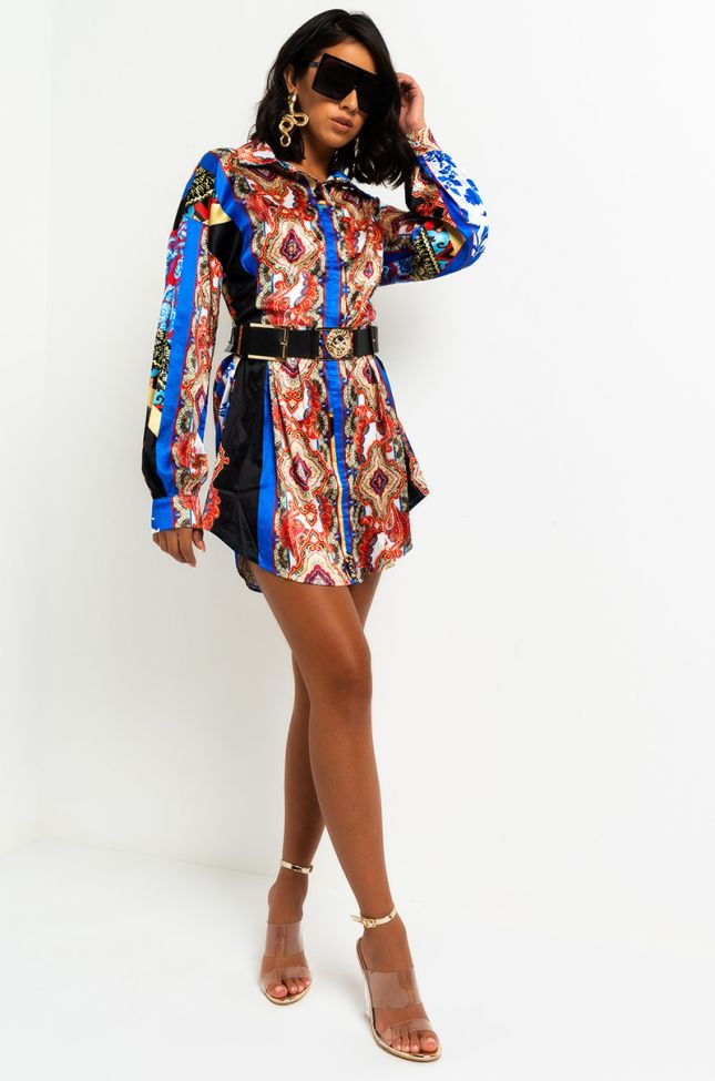 Front View Patchwork Print Satin Mini Dress in Blue Multi