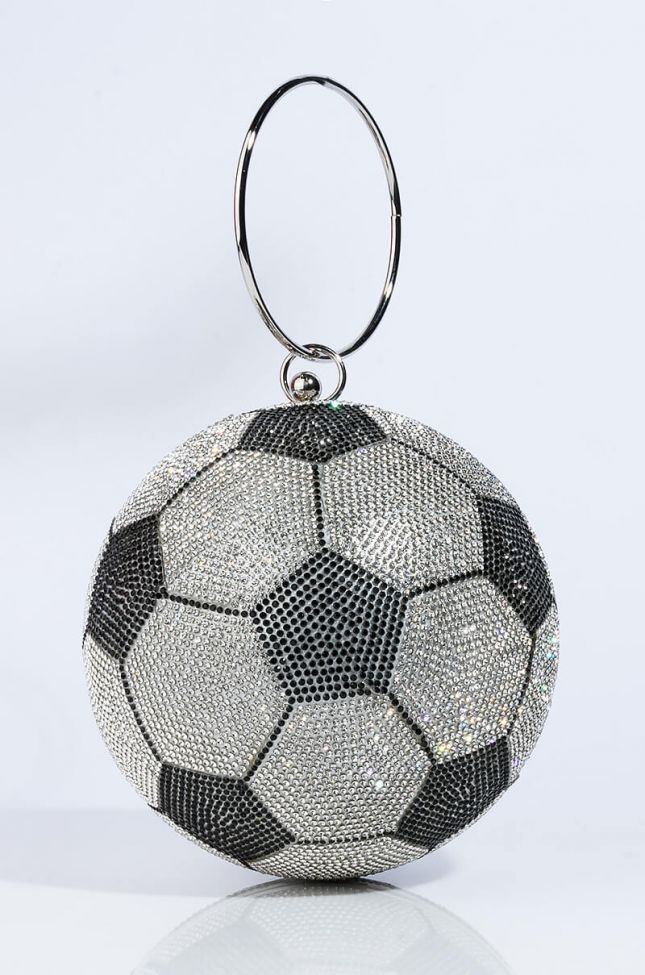 Side View Pave Luxe Football Purse in Black White