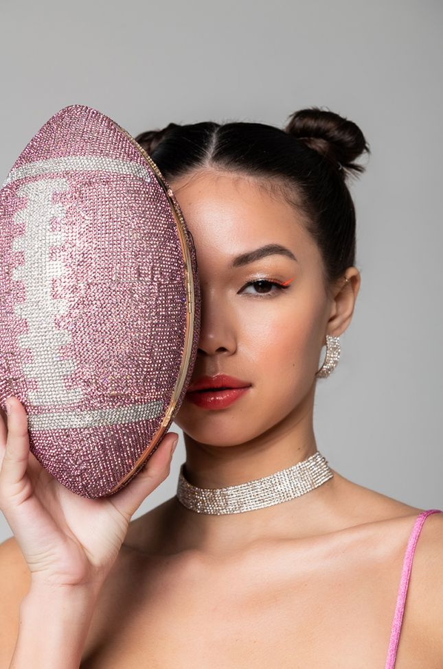 Front View Pave Touch Down Football Clutch in Pink