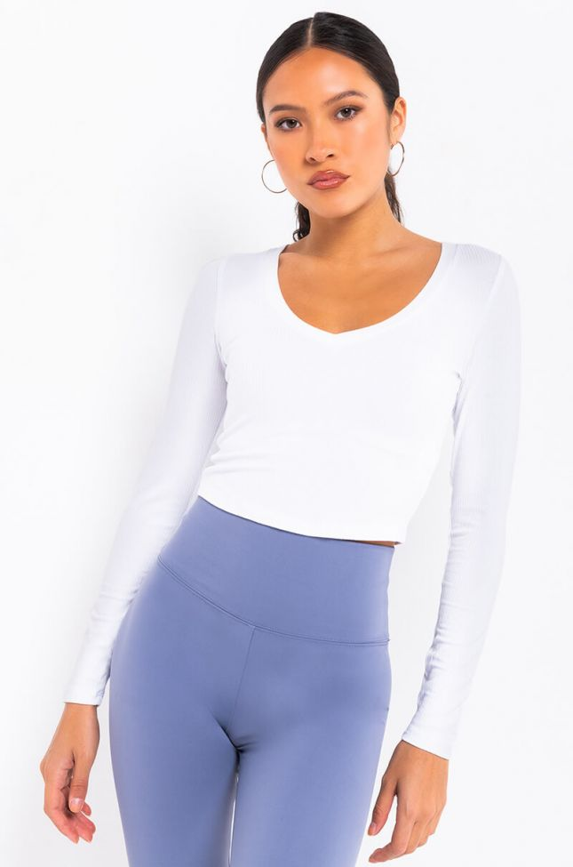 Front View Paxton Basic V-neck Rib Long Sleeve in White