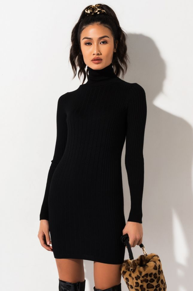 Front View Paxton Call Me Maybe Ribbed Turtleneck Mini Dress in Black