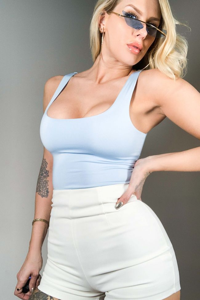 Front View Paxton Double Lined Tank Top Bodysuit in Light Blue