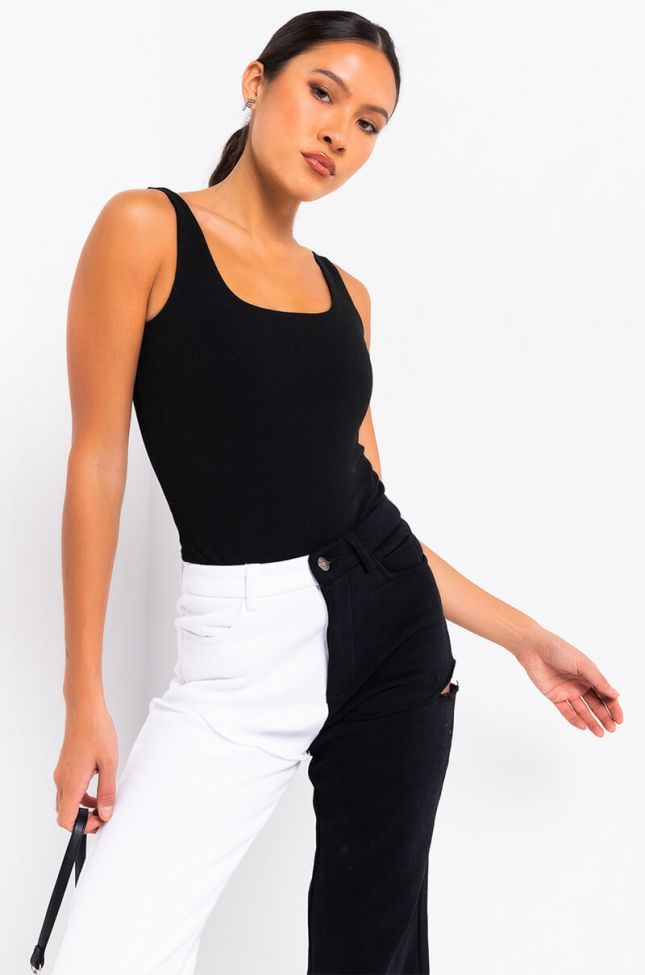 Front View Paxton Double Ribbed Tank Top Bodysuit in Black