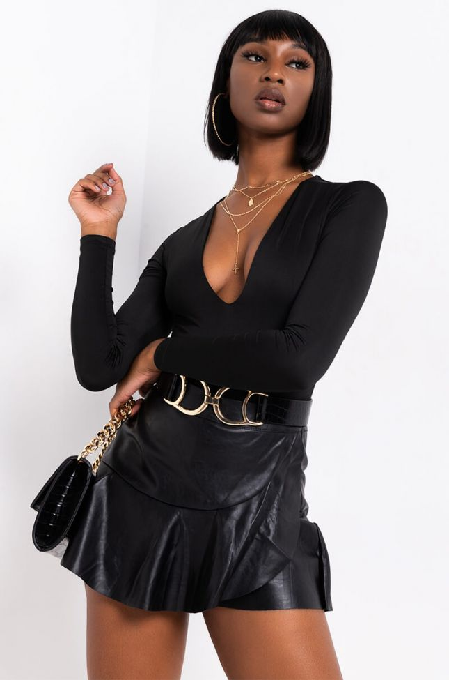 Front View Paxton Fresh N Clean V-neck Bodysuit in Black