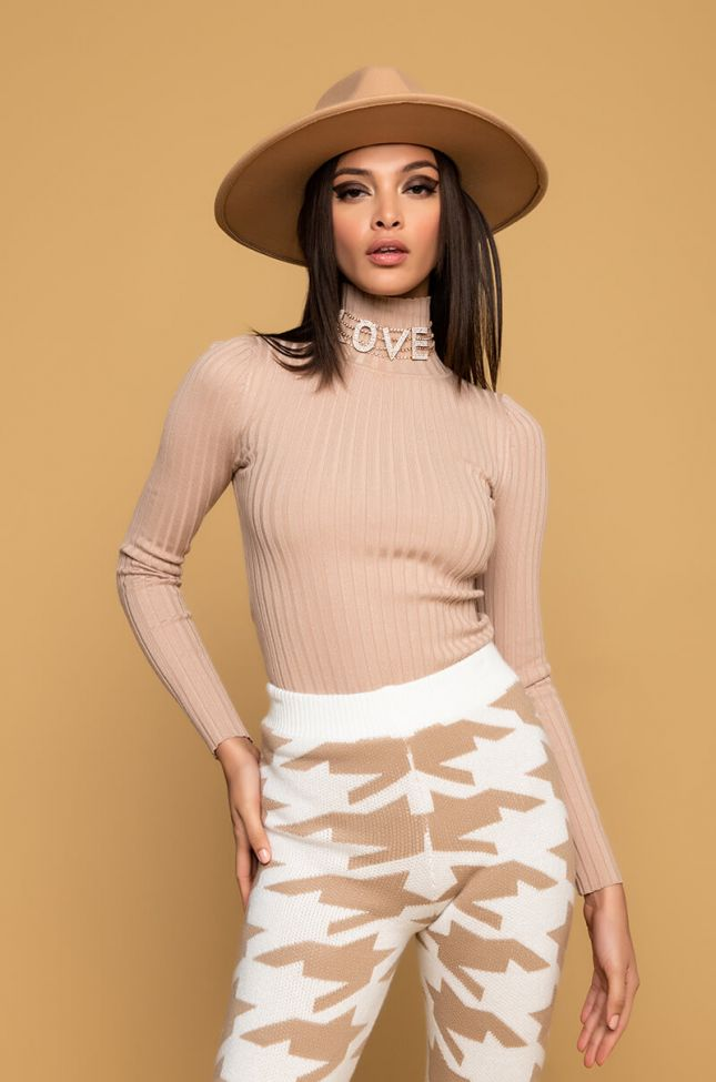 Side View Paxton Girl Next Door Ribbed Turtleneck Bodysuit  in Taupe