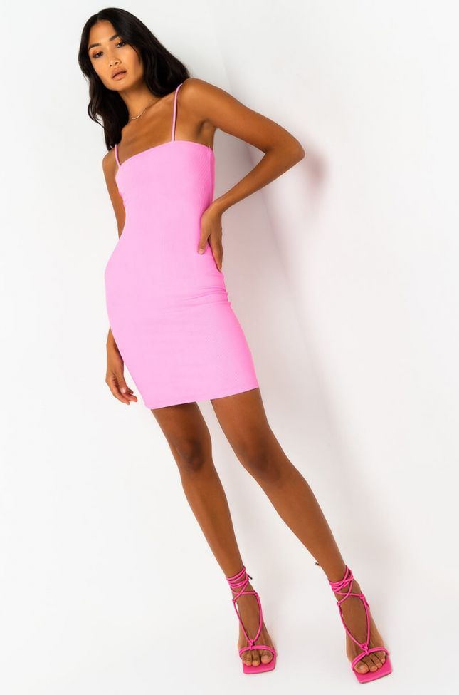 Front View Paxton Let It Begin Ribbed Mini Dress in Pink