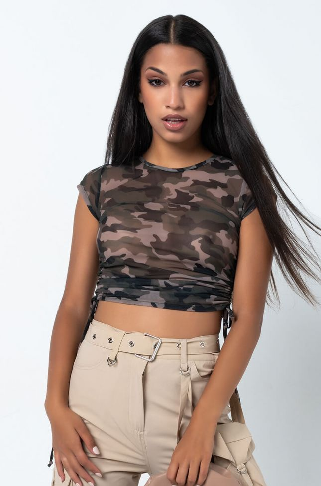 Front View Paxton Long Time Gone Short Sleeve Mesh Crop Top in Green Camo