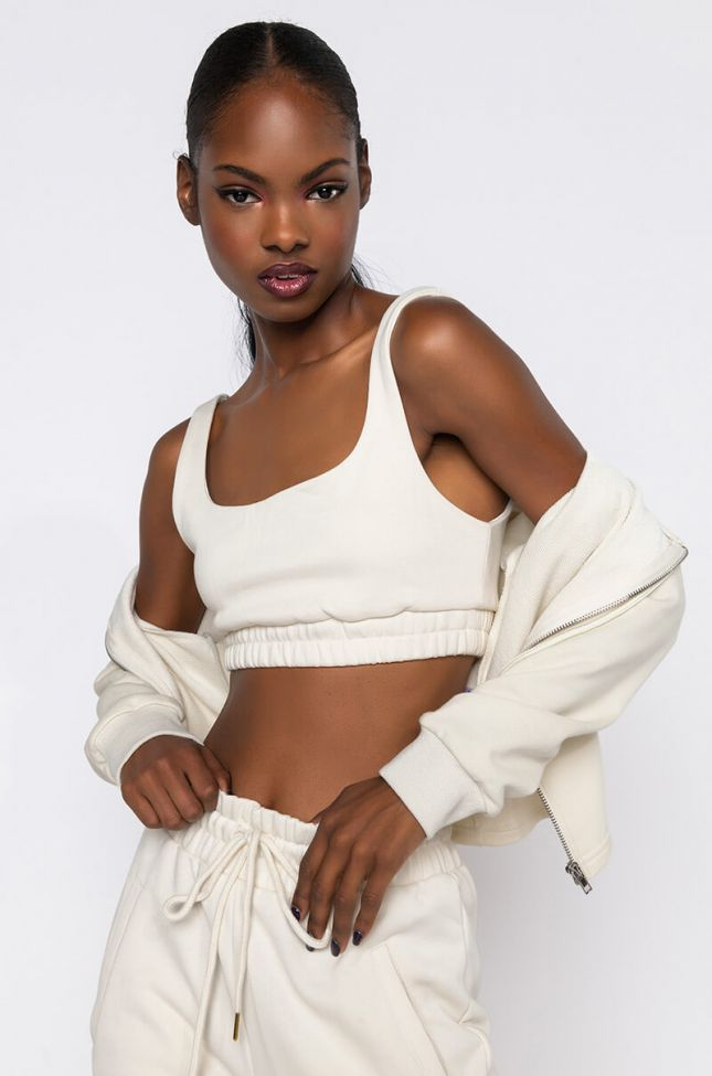 Front View Paxton Lux Basix Crop Top in Ivory