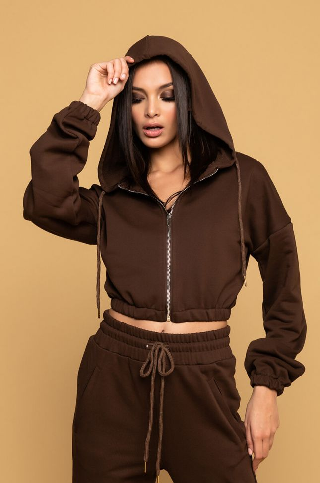 Back View Paxton Lux Basix Zip Up Hoodie in Brown