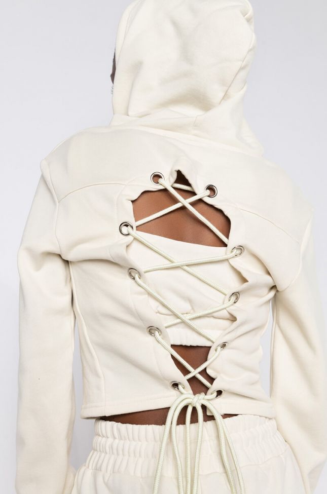 Detail View Paxton Lux Basix Zip Up Hoodie in Ivory