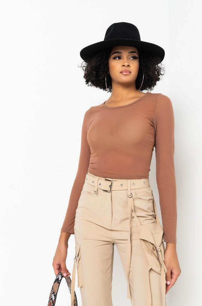 Front View Paxton Overachiever Long Sleeve Casual Crop Top in Brown