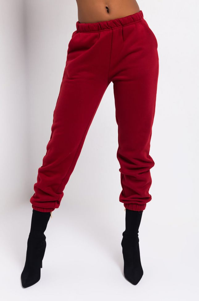 Front View Paxton See You Later Sweatpant in Burgundy