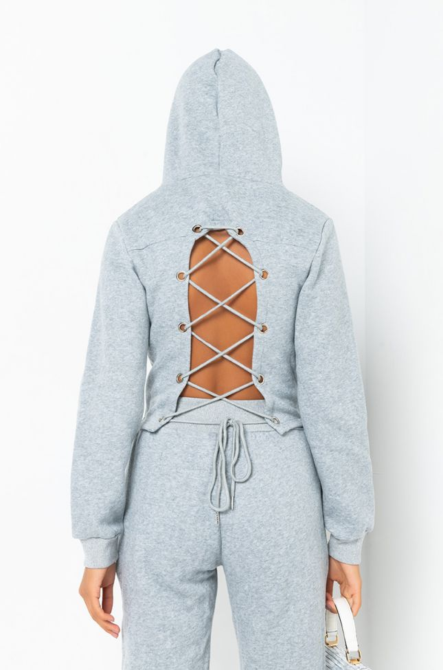 Back View Paxton Sicily Lace Up Sweatshirt in Heather Grey