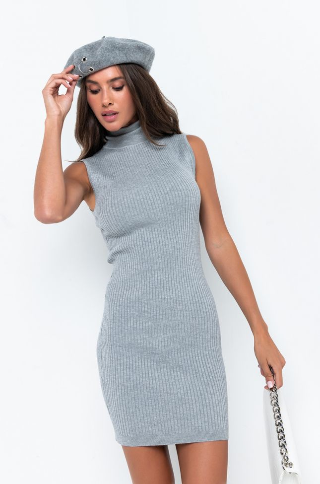 Front View Paxton Sleeveless Ribbed Mini Dress in Heather Grey