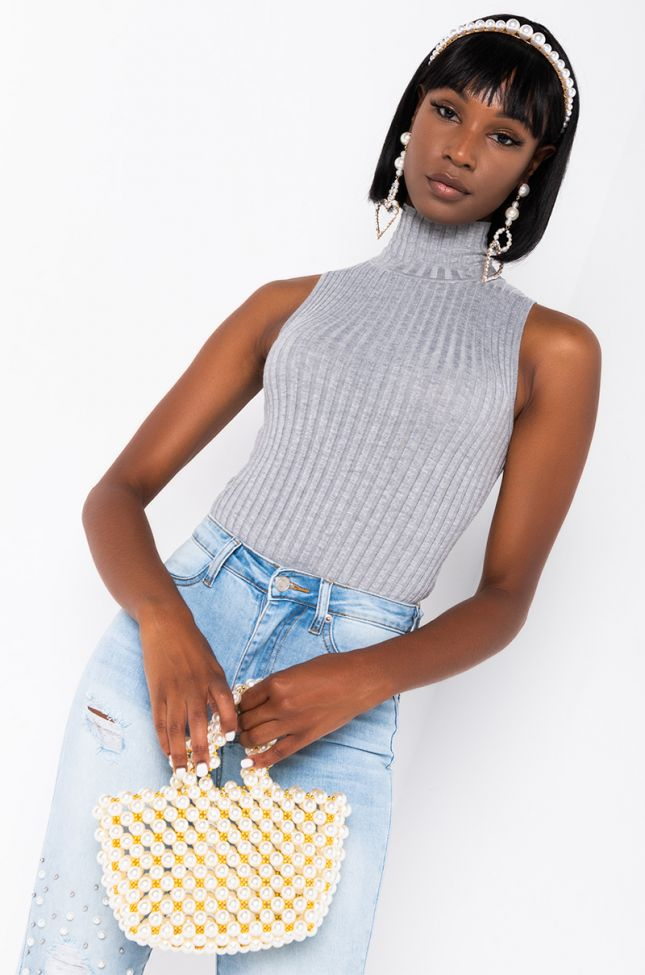 Front View Paxton Sleeveless Ribbed Turtleneck  Bodysuit in Heather Grey
