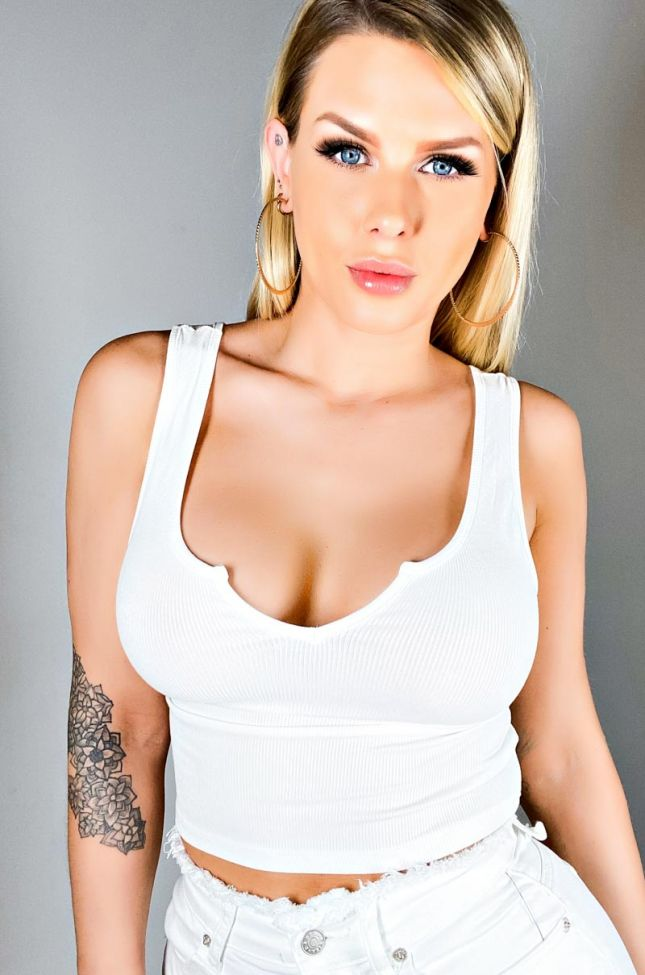Front View Paxton Summer Ribbed Crop Top in White