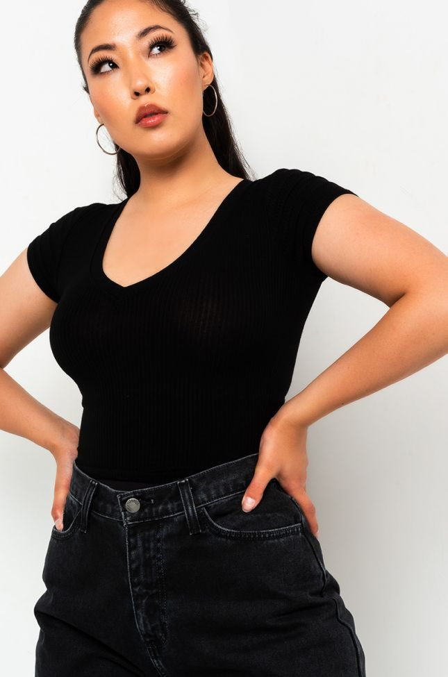 Front View Paxton Tania V Neck Crop Top in Black