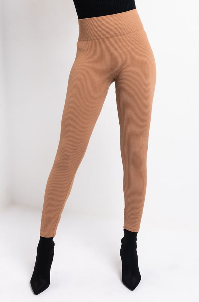 Front View Paxton Ultra Seamless High Rise Ribbed Legging in Mocha
