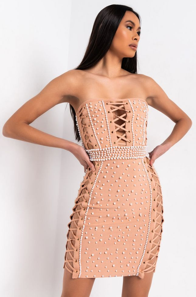 Front View Pearl World Studded Mini Dress in Nude