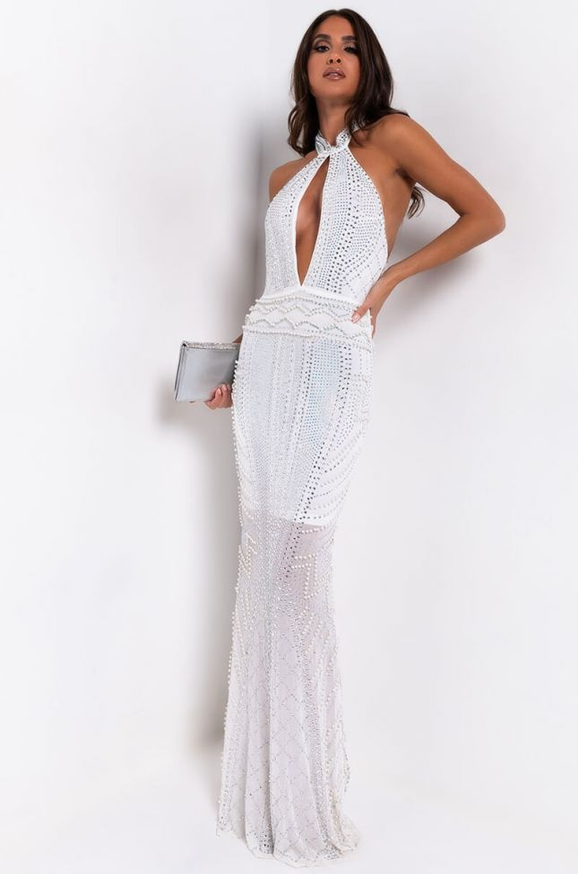 Front View Pearlfection Studded Maxi Dress in White