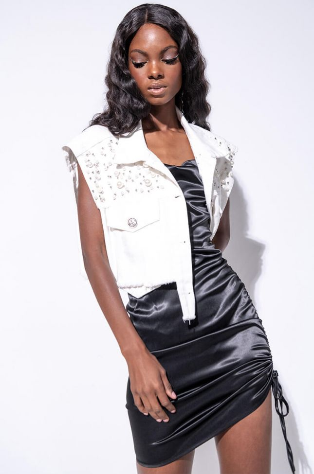 Front View Pearly White Denim Vest