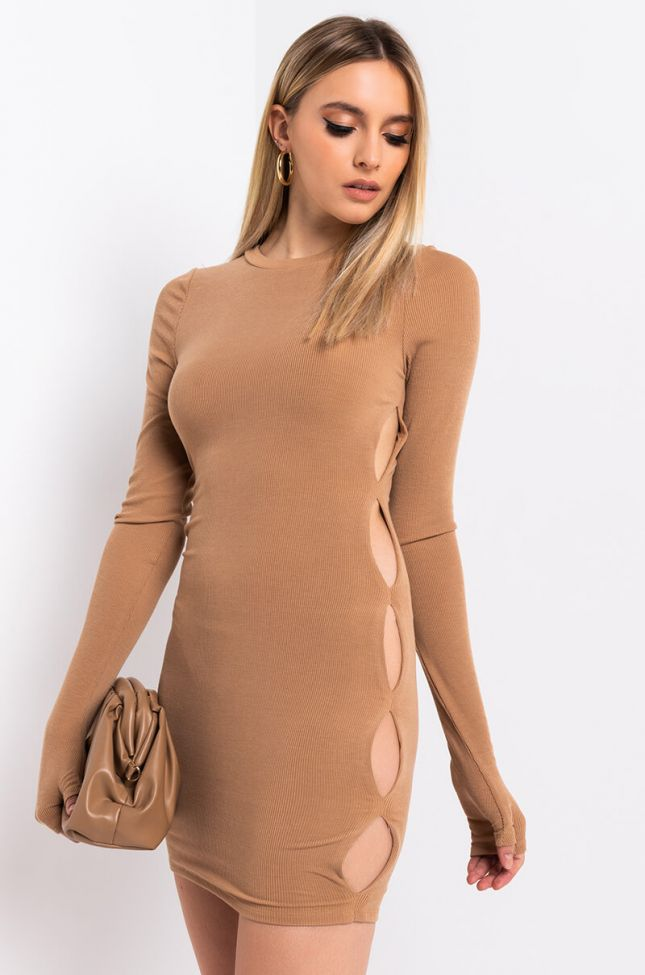 Front View Peek A Boo Cut Out Ribbed Mini Dress in Light Taupe