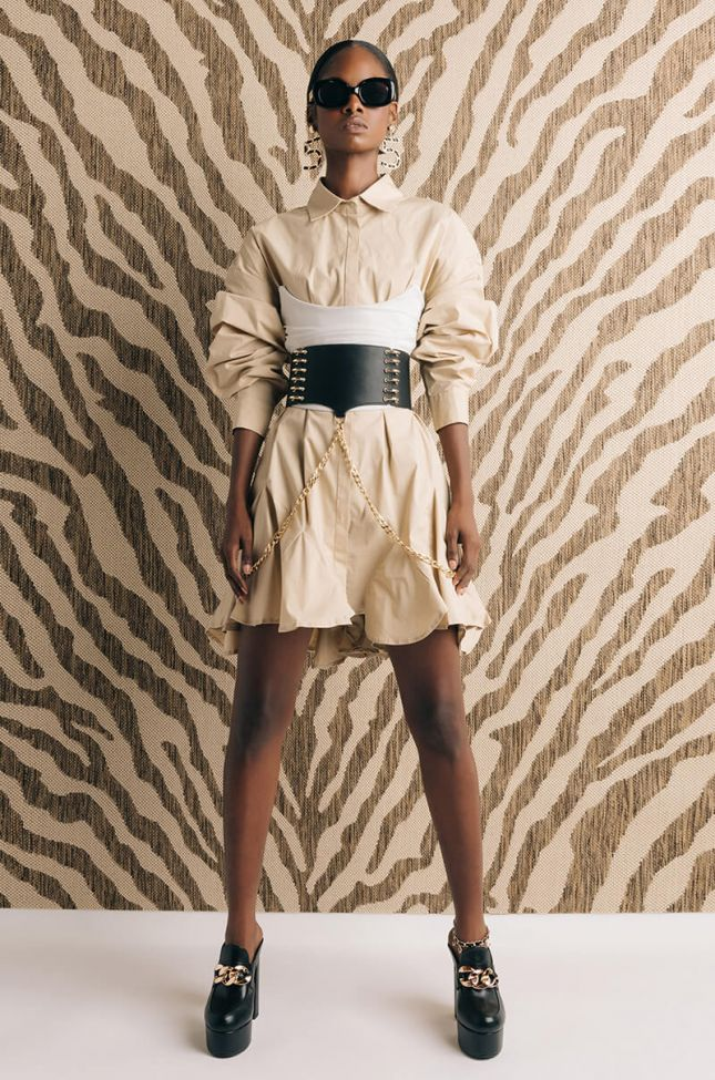 Penny Pleated Shirt Dress in Light Brown