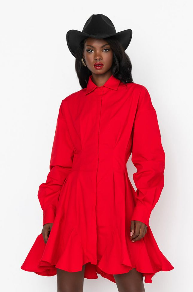 Front View Penny Pleated Shirt Dress in Red