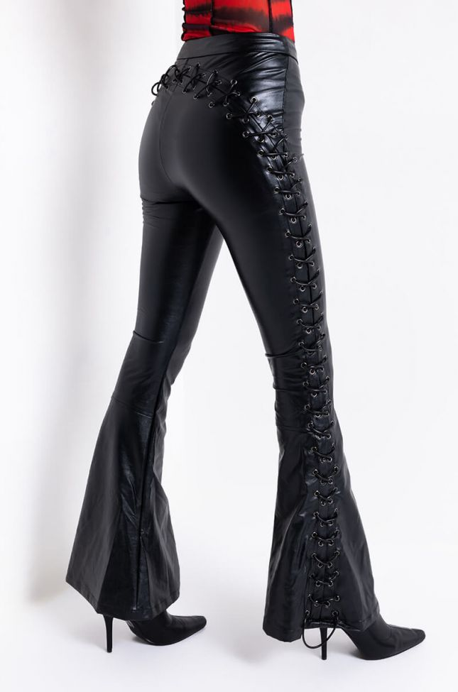 Side View Perfect Control Faux Leather Flare Pants in Black