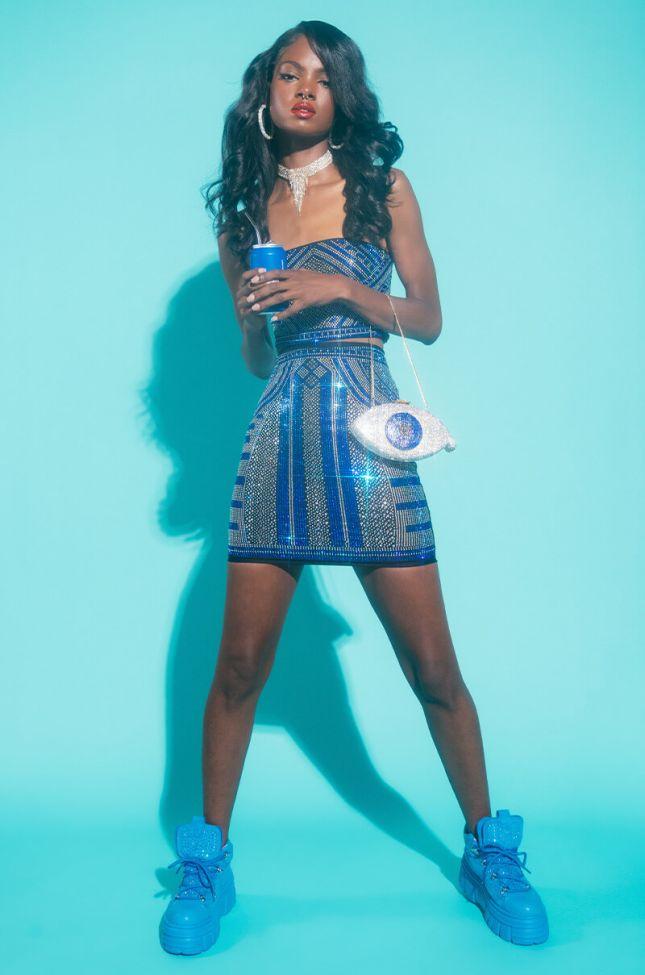 Piana Rhinestone Mini Skirt in Blue Multi
