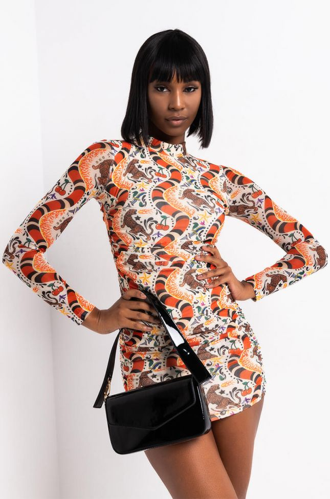 Front View Pick Your Poison Mock Neck Mini Long Sleeve Dress in Brown Multi