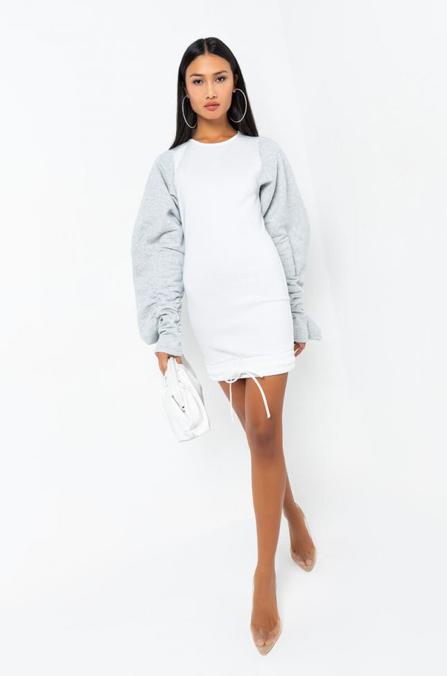 Front View Pickin And Choosin Oversized Sleeve Hoodie Dress in Heather Grey
