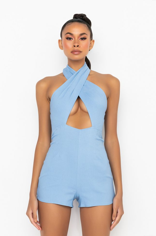 Front View Picnic In The Park Wrap Top Romper in Light Blue