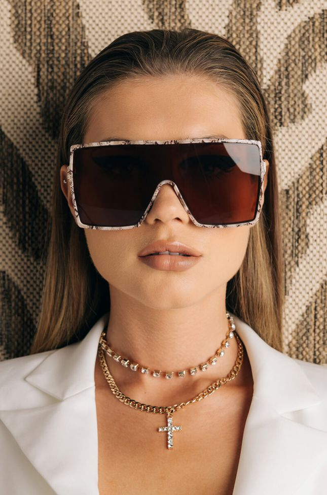 Front View Picture Perfect Oversized Sunglasses in Brown