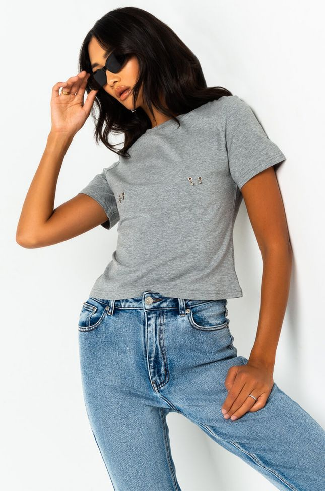 Front View Piercing T Shirt in Heather Grey