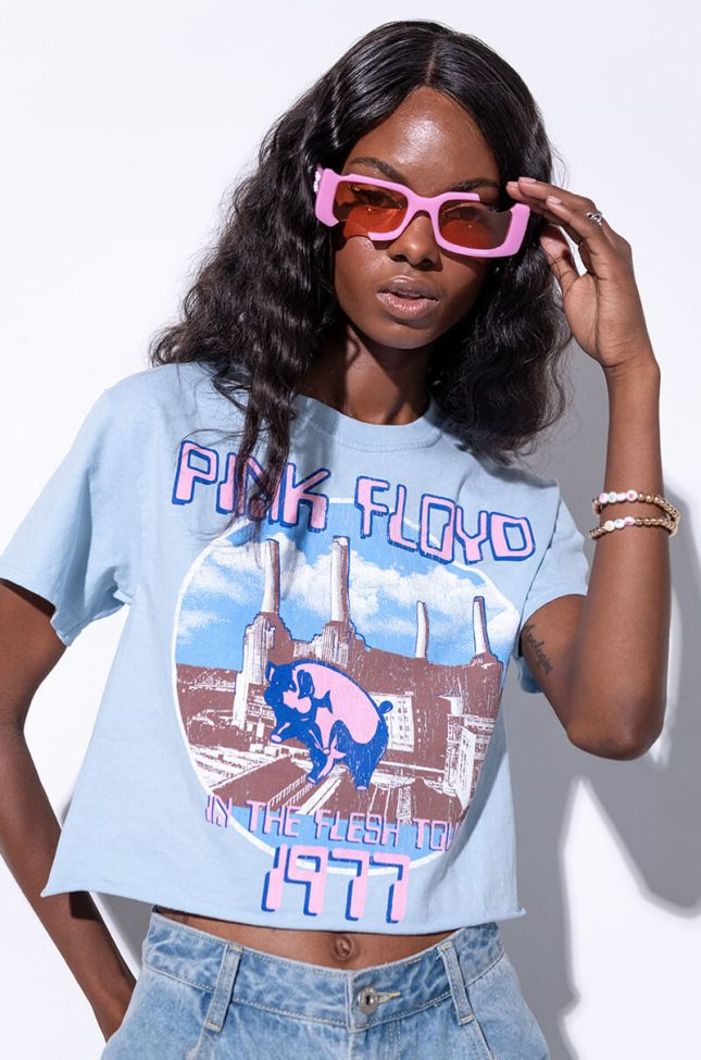 Front View Pink Floyd Washed Cropped Tee