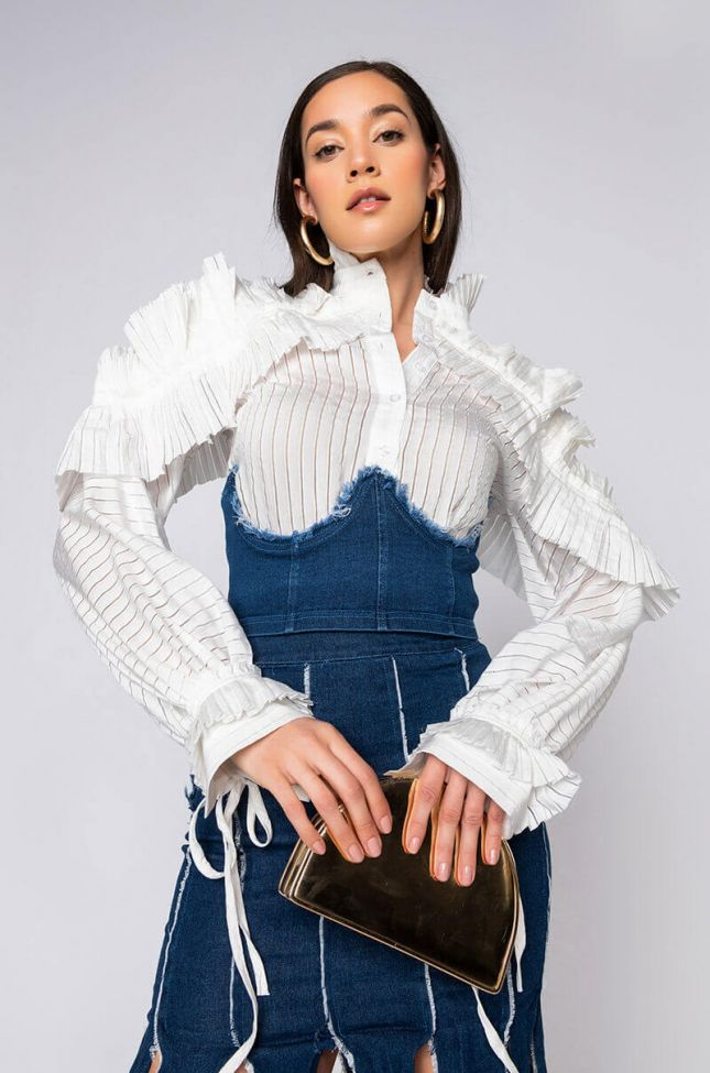 Front View Pinky Promise Cropped Denim Corset in Medium Blue Denim