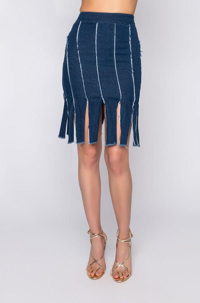 Front View Pinky Promise Mini Denim Skirt With Multiple Slits in Medium Blue Denim