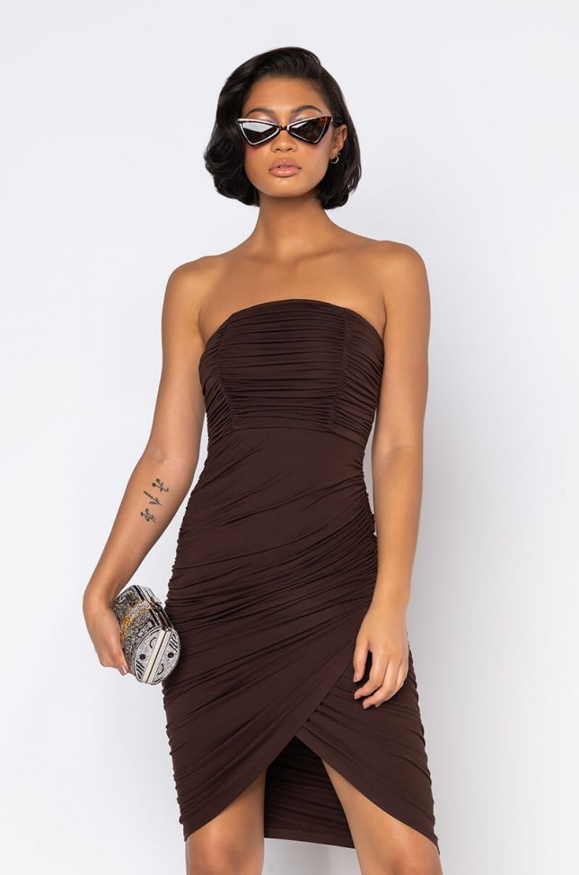 Front View Pipe It Up Ruched Mini Dress in Brown