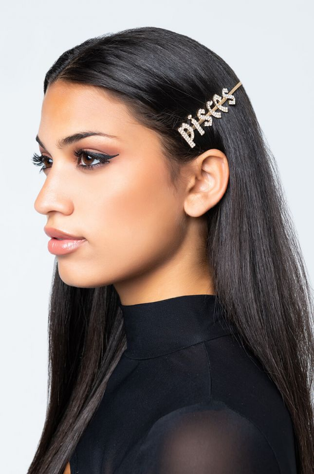 Front View Pisces Hair Clip in Gold