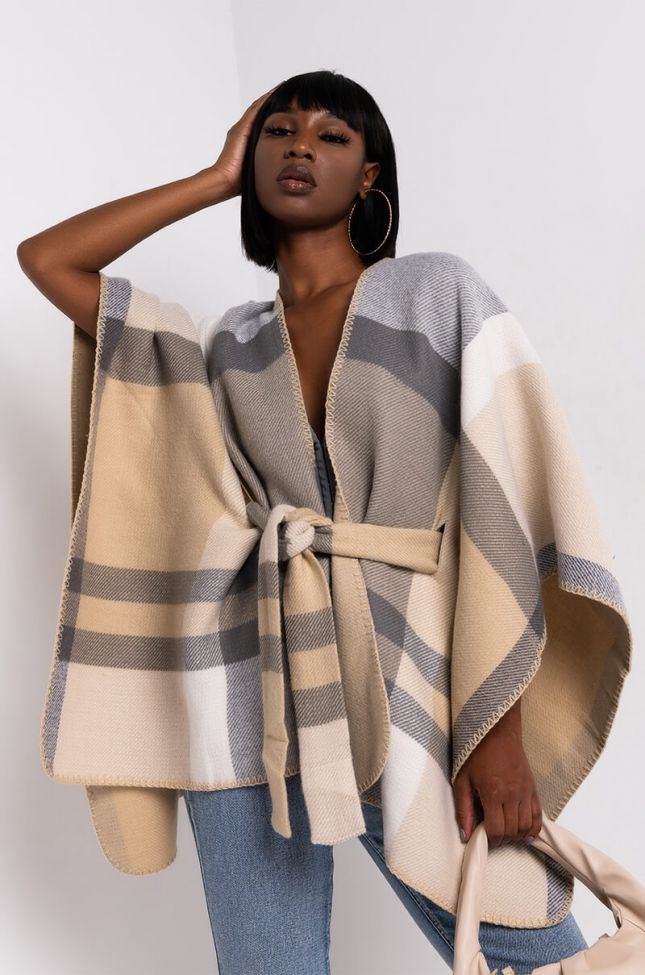 Front View Plaid Tie Front Poncho in Tan