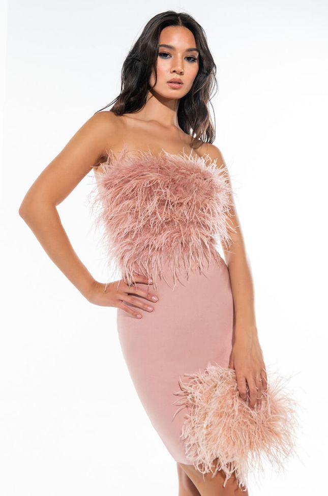 Front View Play It Again Tube Bandage Dress With Feathers