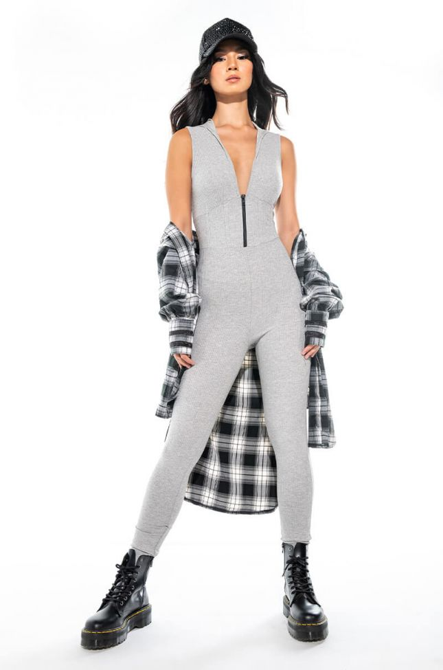 PLAY YOUR CARDS RIGHT ZIP UP JUMPSUIT